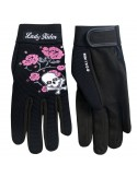 Ladies Mechanics Gloves Skull and Roses