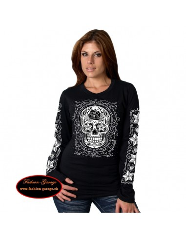 Sugar Skull Long Sleeve Ladies Tee