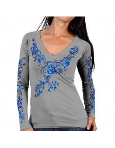 China Pattern V-Neck Silver Long Sleeve