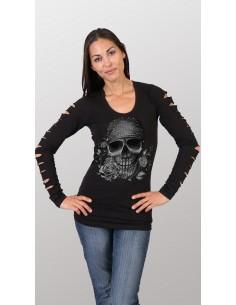 Bandana Skull Ladies Slit Sleeve