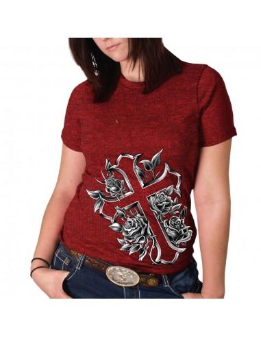 Cross and Roses Red Full Cut T-Shirt