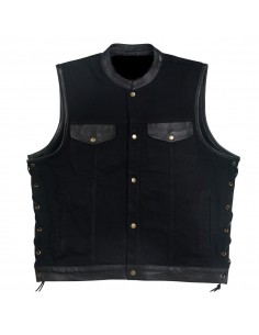 Black Denim Leather Vest