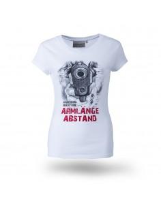 Armlänge Abstand damen T-Shirt weiss