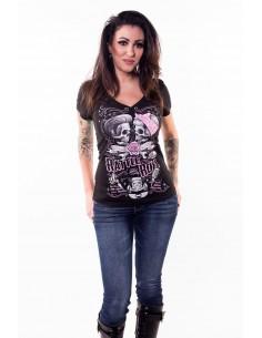 "Damen T-Shirt schwarz ""La Rattle and Roll"""